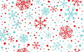 Seamless blue and red abstract snowflake with white background.