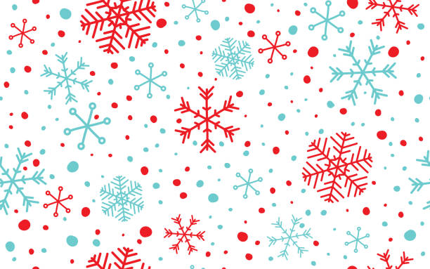 Seamless Snowflake Background Seamless blue and red abstract snowflake with white background. christmas patterns stock illustrations