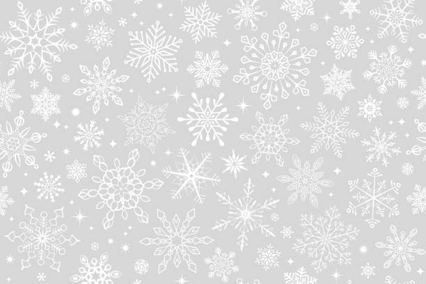 ilustraciones, imágenes clip art, dibujos animados e iconos de stock de fondo de copo de nieve sin costuras - christmas background