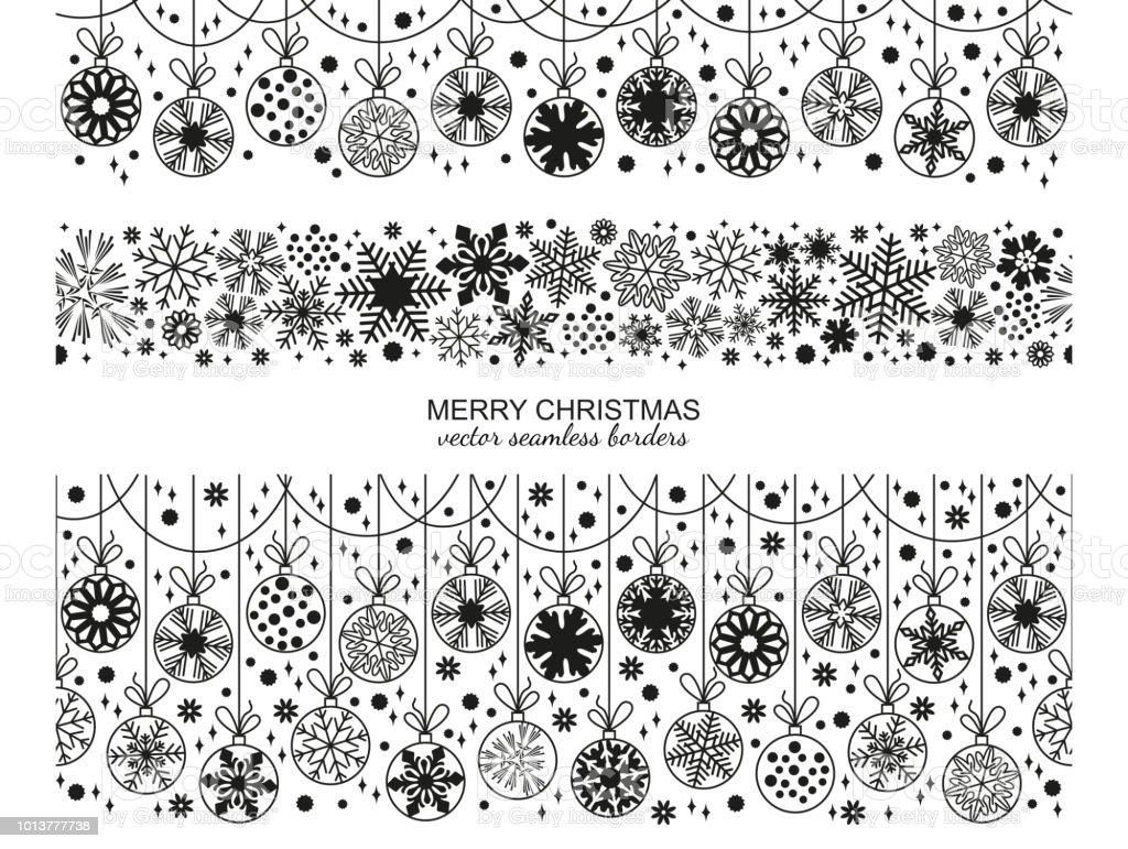 Nahtlose Schneeflocke Grenze Gesetzt Weihnachten Auswahl Stock ...