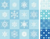 Seamless snowflakes backgrounds with different color variants