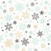 Seamless Snowflakes Mint Gold