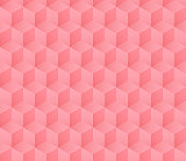 seamless soft pink cube pattern with gradient color vector illustration. simple minimalist geometric background design.