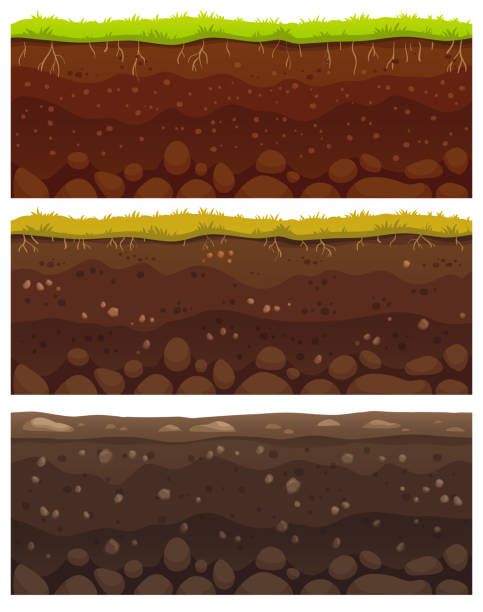 Seamless soil layers. Layered dirt clay, ground layer with stones and grass on dirts cliff texture vector pattern Seamless soil layers. Layered dirt clay, ground layer with stones and grass on dirts cliff texture, underground buried rock, archeology landscape cartoon vector pattern isolated set underground stock illustrations