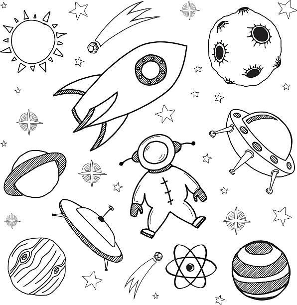 seamless space doodles set vector art illustration