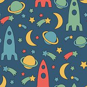 Seamless space pattern. Cosmic background with stars, planet, spaceship, moon