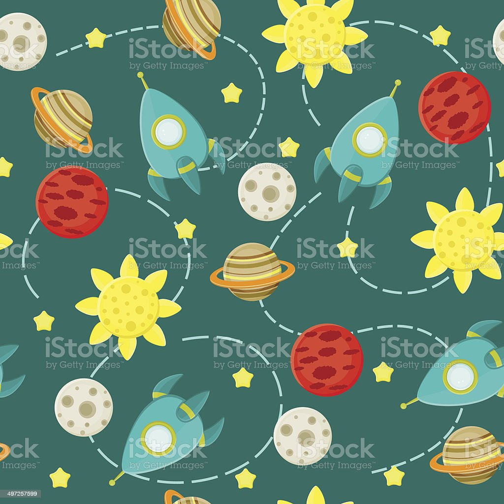 Seamless Space Pattern Wallpaper With Rockets Stars And Planets Royalty Free