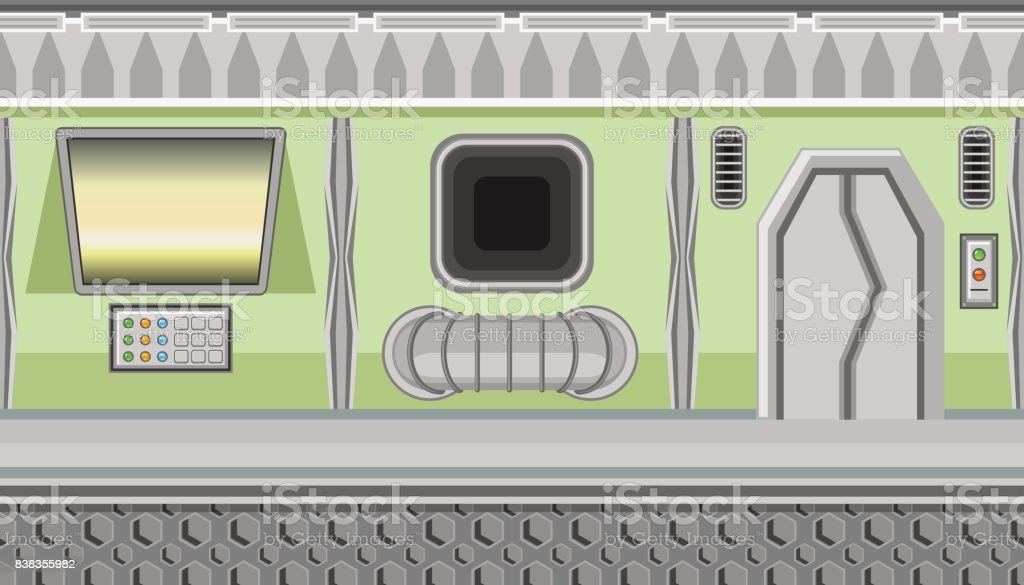 Seamless spaceship interior of green corridor and yellow monitor for game design vector art illustration