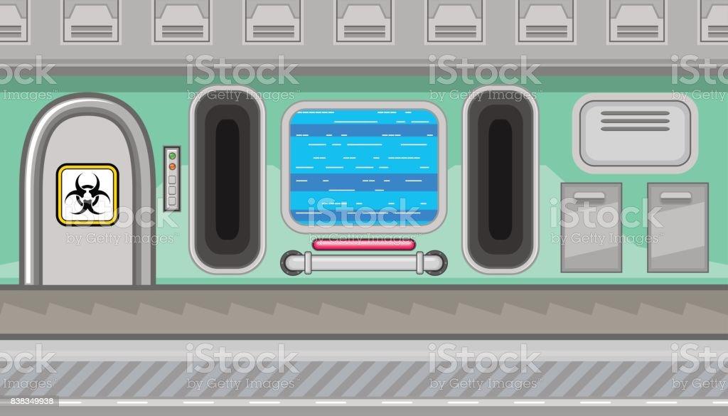 Seamless spaceship interior of green corridor for game design vector art illustration
