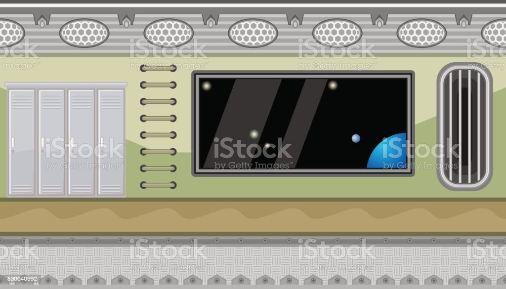 Seamless Spaceship Interior With Big Window And Lockers For Game - Spaceship design game