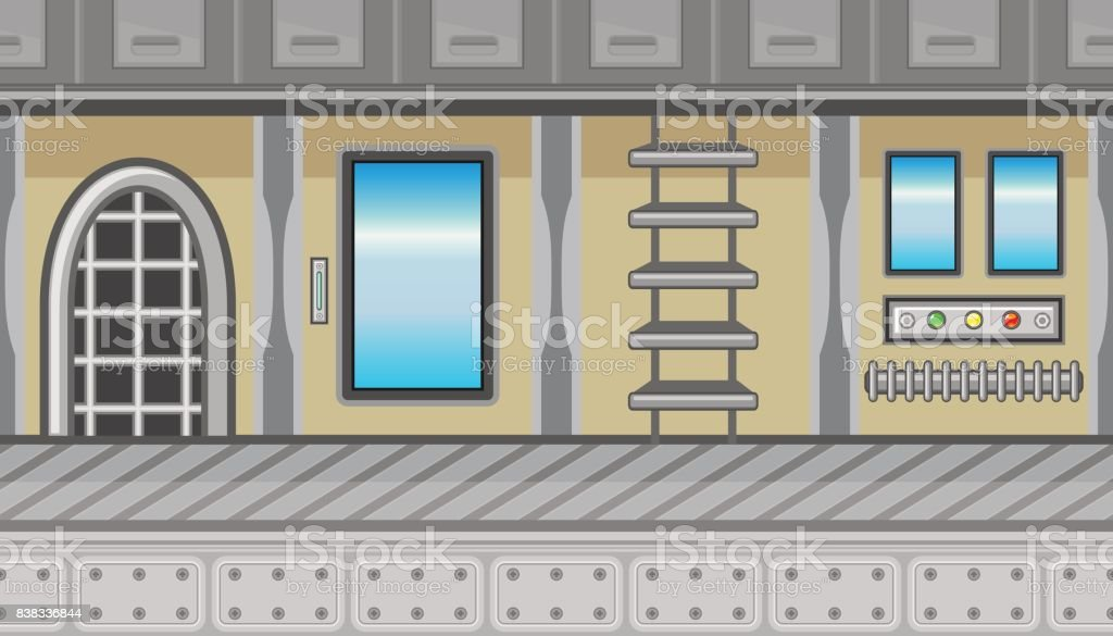 Seamless spaceship interior with ladder and blue windows for game design vector art illustration