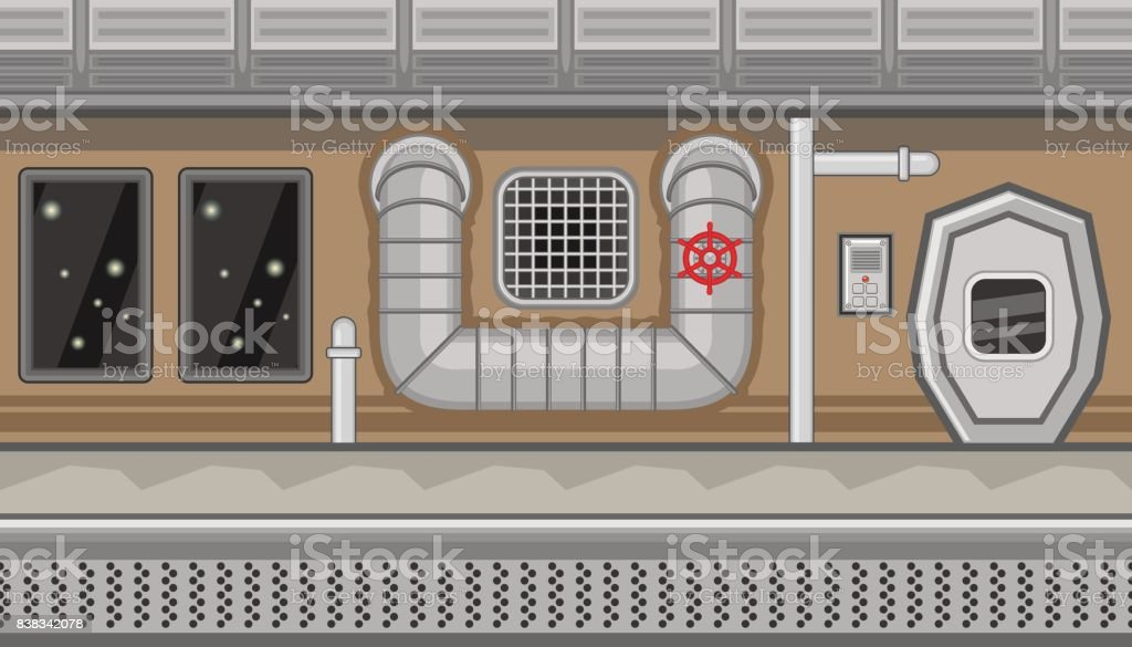 Seamless spaceship interior with pipe and manhole for game design vector art illustration