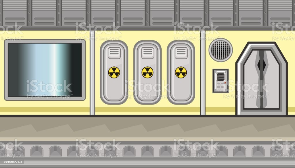 Seamless spaceship interior with three lockers and sign of radiation for game design vector art illustration