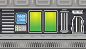 Seamless spaceship interior with two green windows for game design