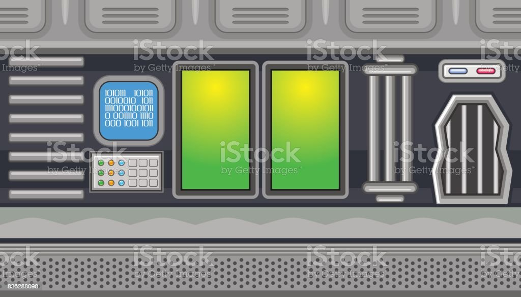 Seamless spaceship interior with two green windows for game design vector art illustration