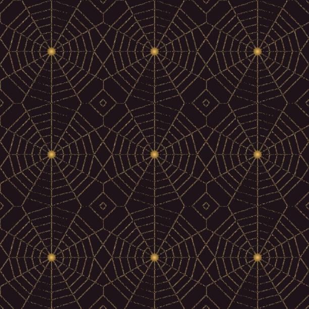 nahtlose spinnennetzmuster mit goldenen beeds - perlenweben stock-grafiken, -clipart, -cartoons und -symbole
