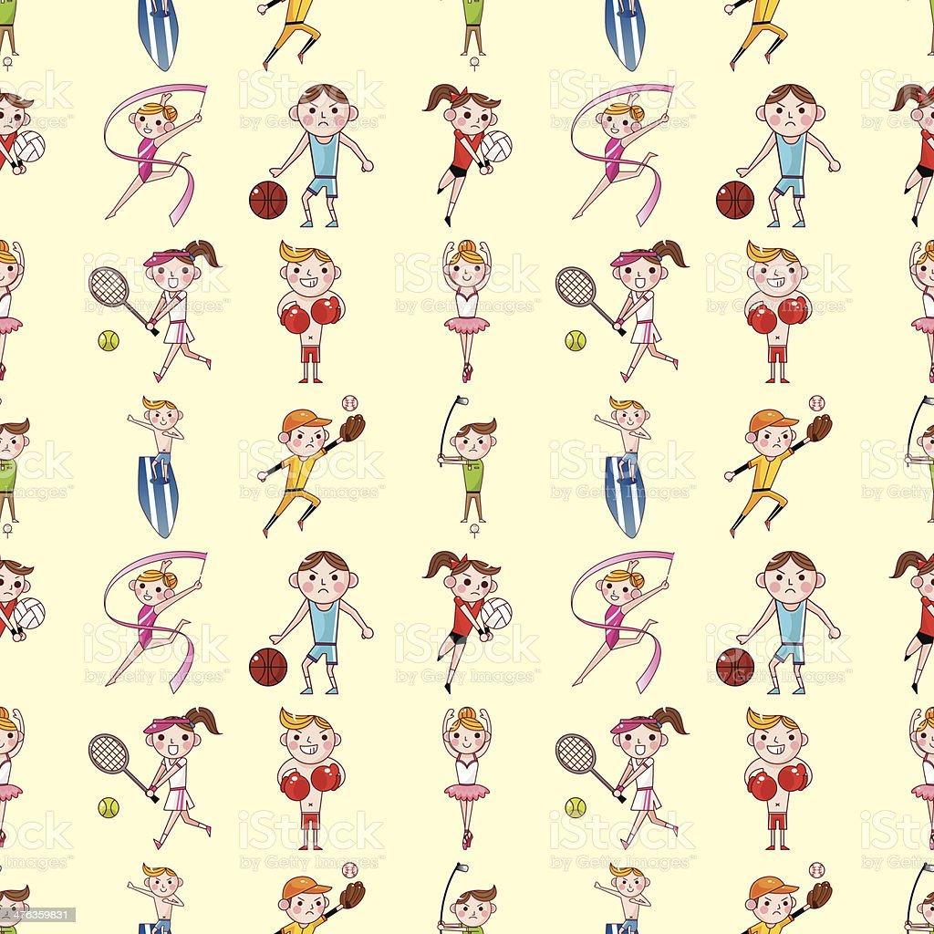 seamless sport player pattern vector art illustration