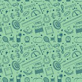 Seamless vector background contains doodle sports & fitness drawings.