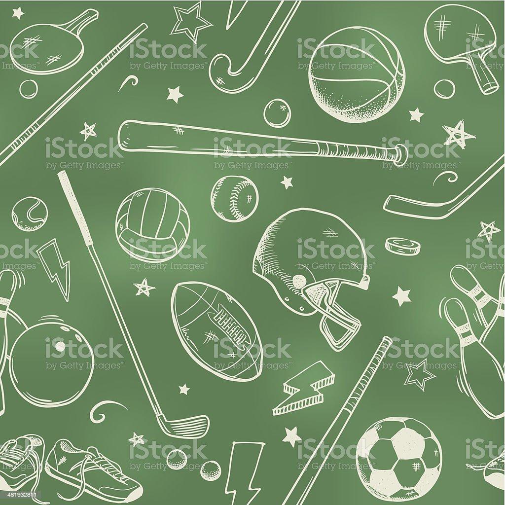 Seamless sports background vector art illustration
