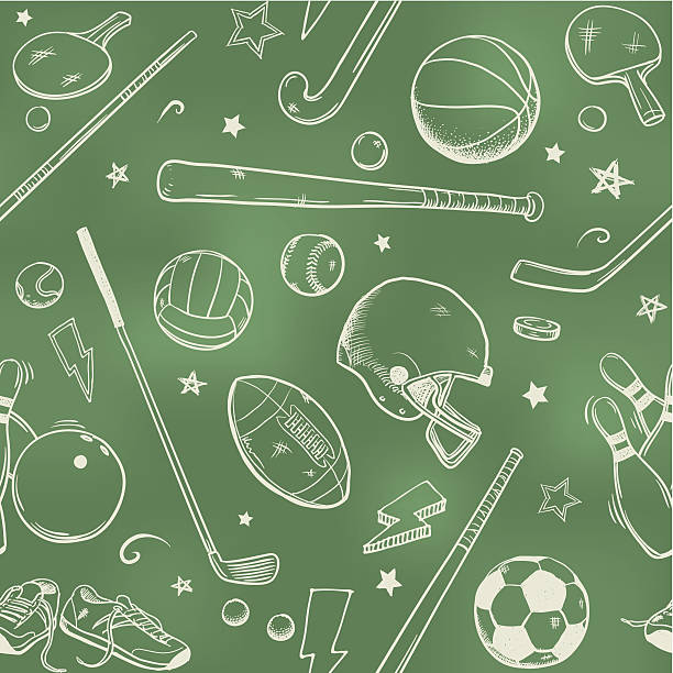 seamless sports background - sports equipment stock illustrations, clip art, cartoons, & icons