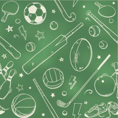 Seamless sports equipment chalk drawings