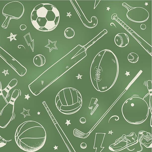 nahtlose sportausrüstung kreide zeichnung - cricket stock-grafiken, -clipart, -cartoons und -symbole