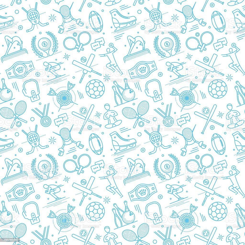 Seamless Sports Pattern vector art illustration