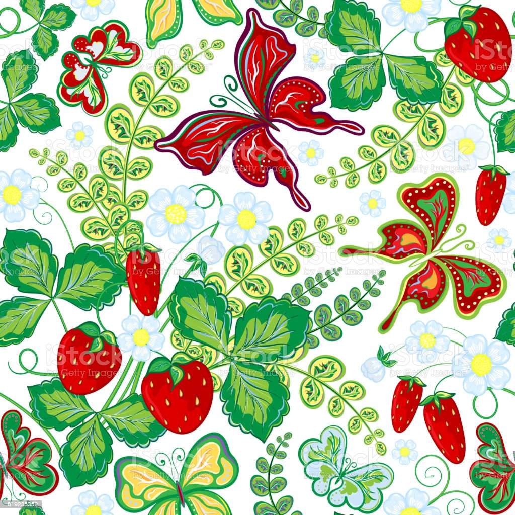 Seamless Spring Floral Pattern With Strawberries And Flowers