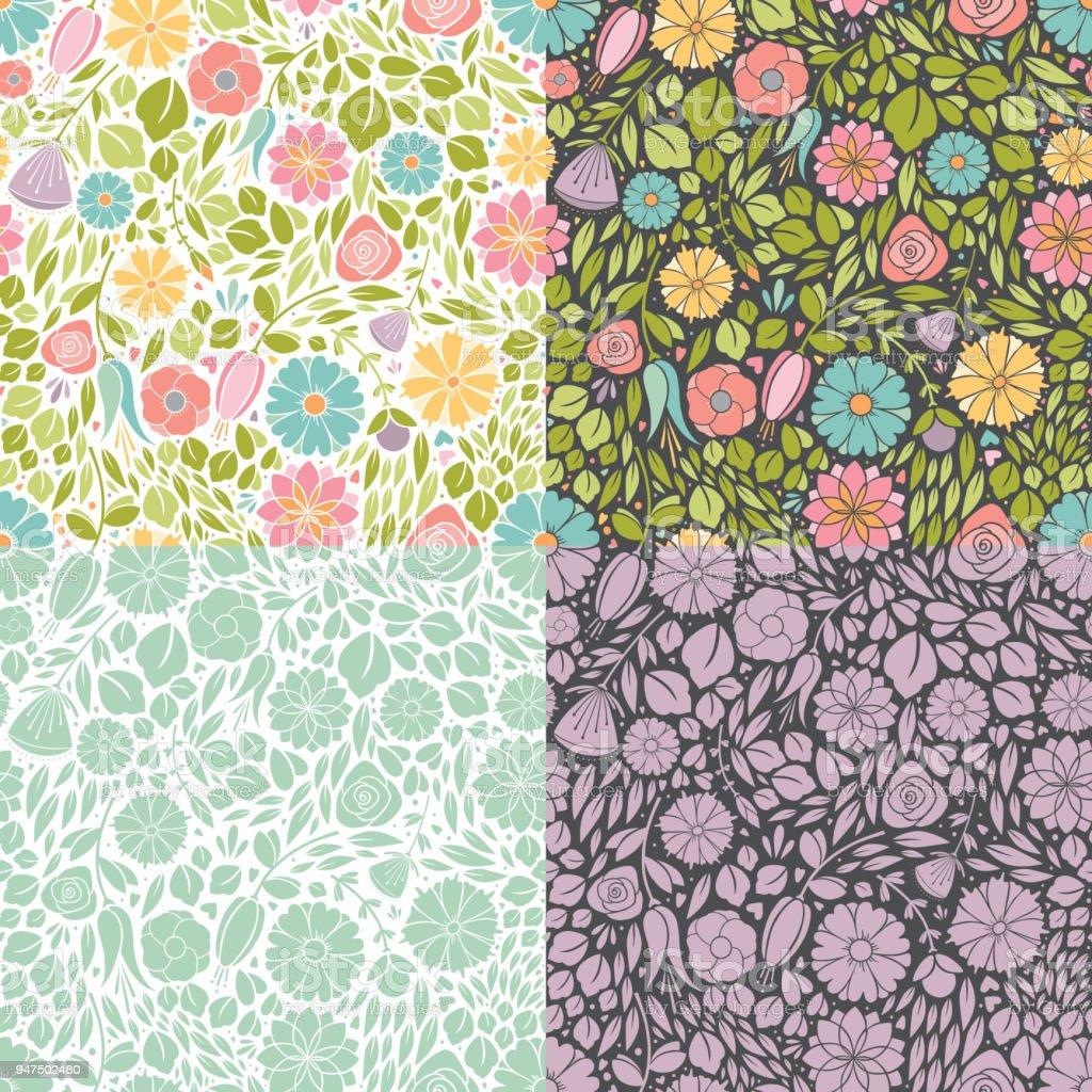Seamless Spring Flowers vector art illustration