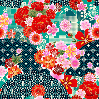 Seamless spring japanese pattern with classic floral motif and fans