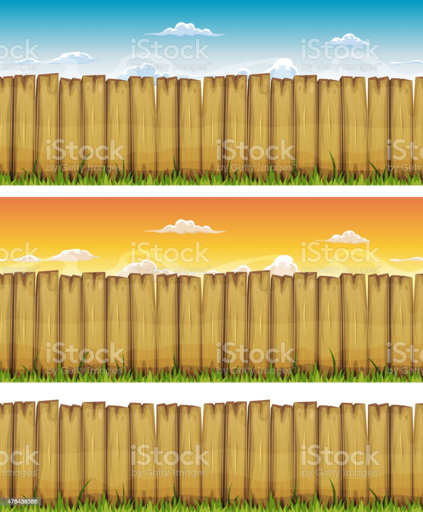 Seamless Spring Or Summer Wood Fence vector art illustration