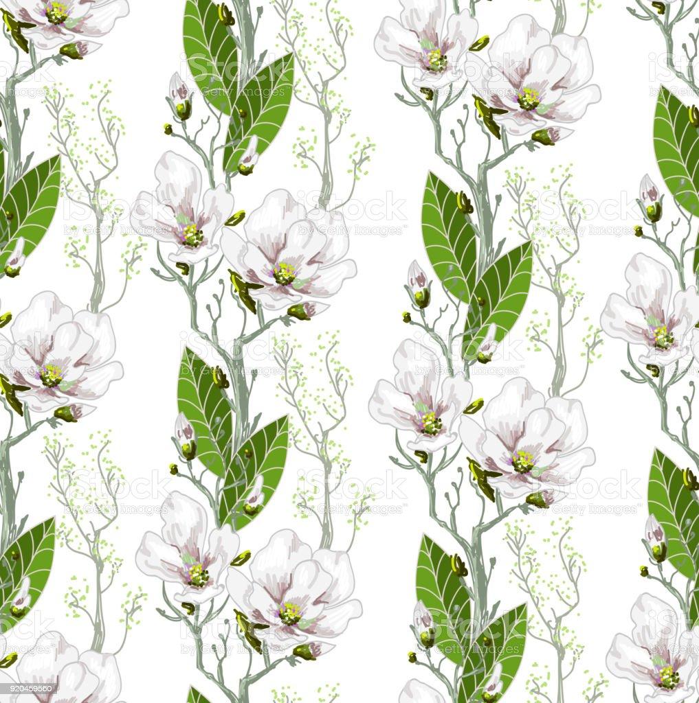 Ilustración de Patrón De Resorte Transparente Con Magnolias Y Hojas ...