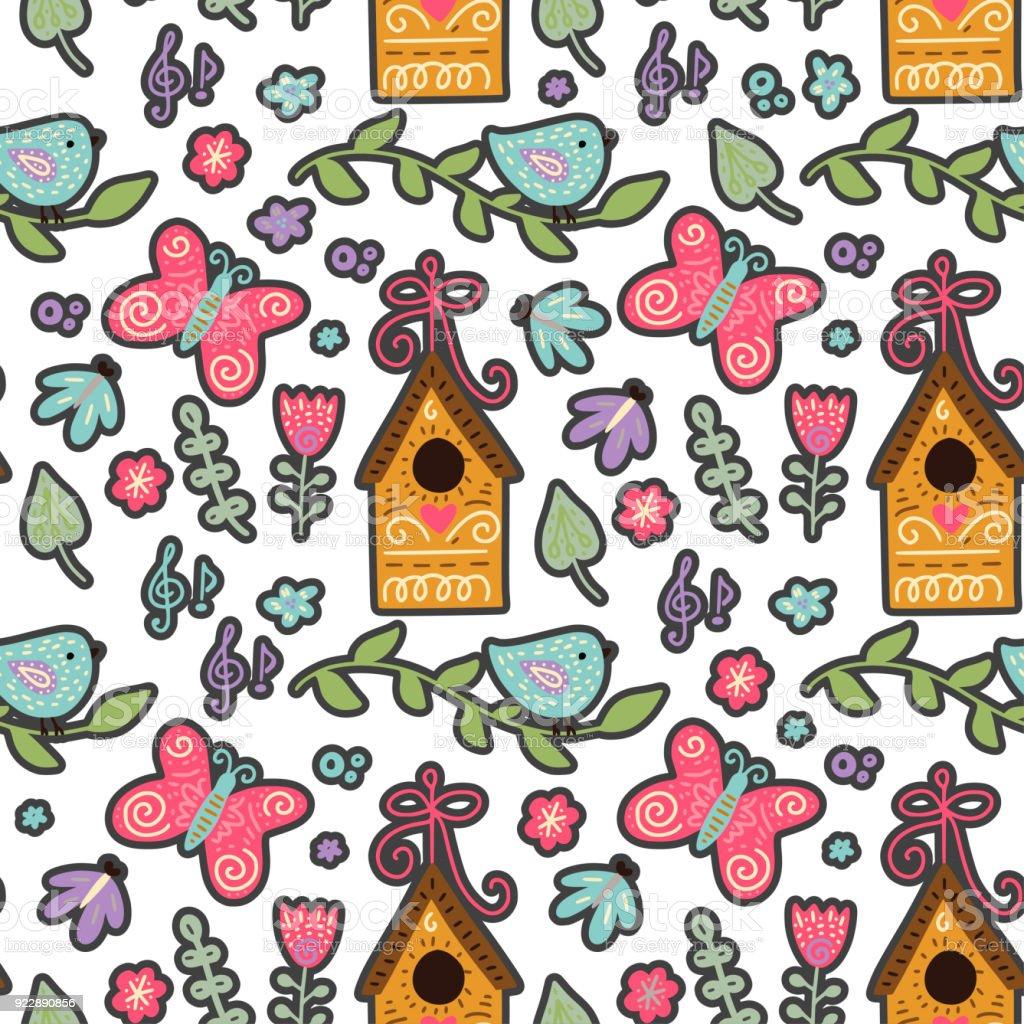 Seamless spring vector pattern vector art illustration