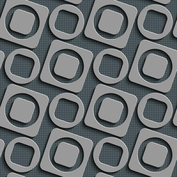 Nahtlose Quadrat und Kreis-Muster – Vektorgrafik