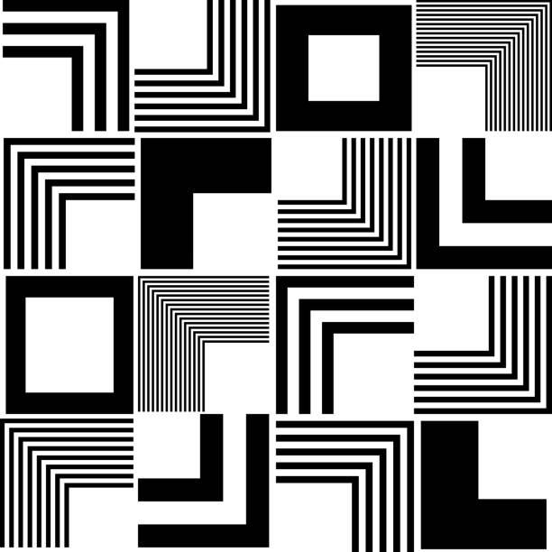Nahtlose Square und Streifenmuster – Vektorgrafik