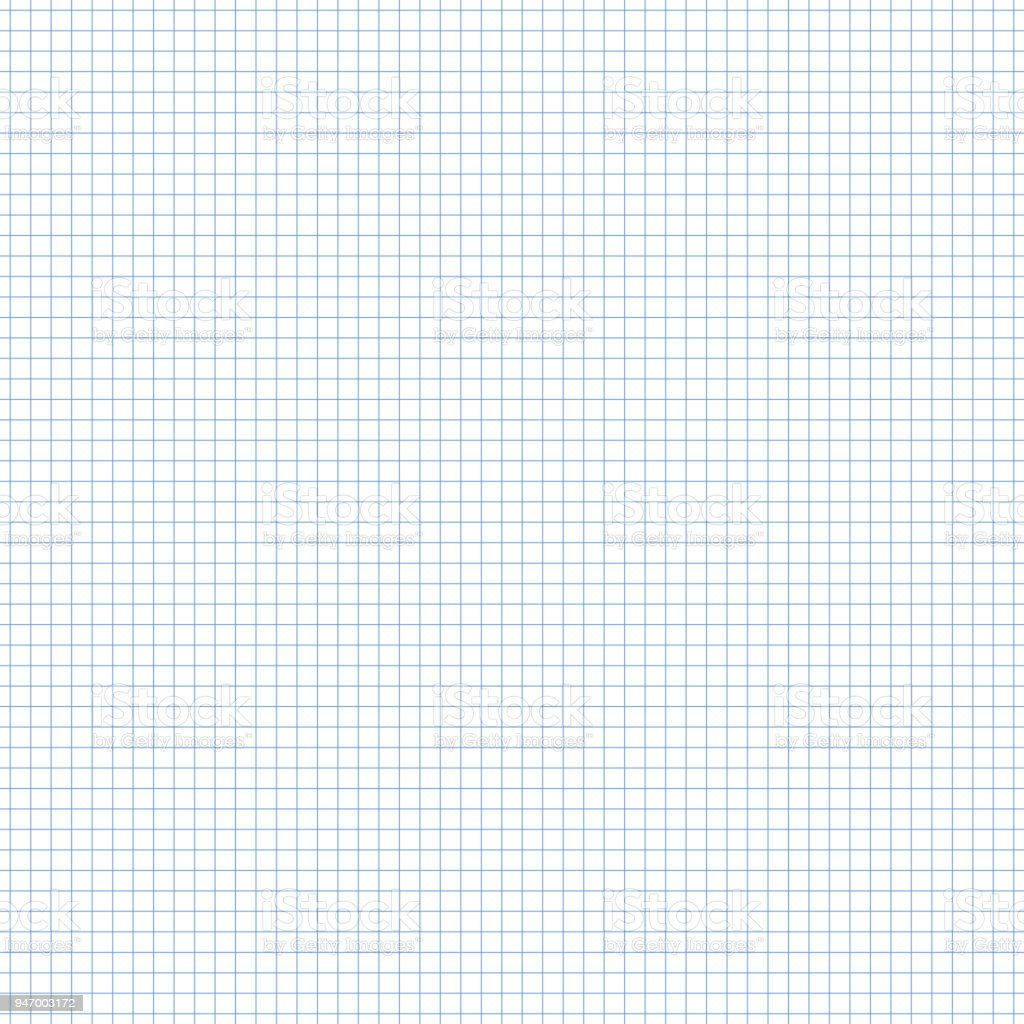 seamless square grid graph paper pattern in blue stock vector art