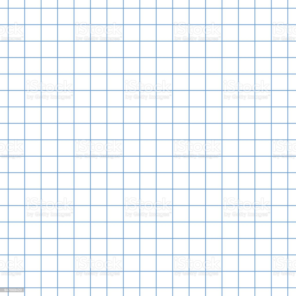 seamless square grid graph paper pattern in blue stock