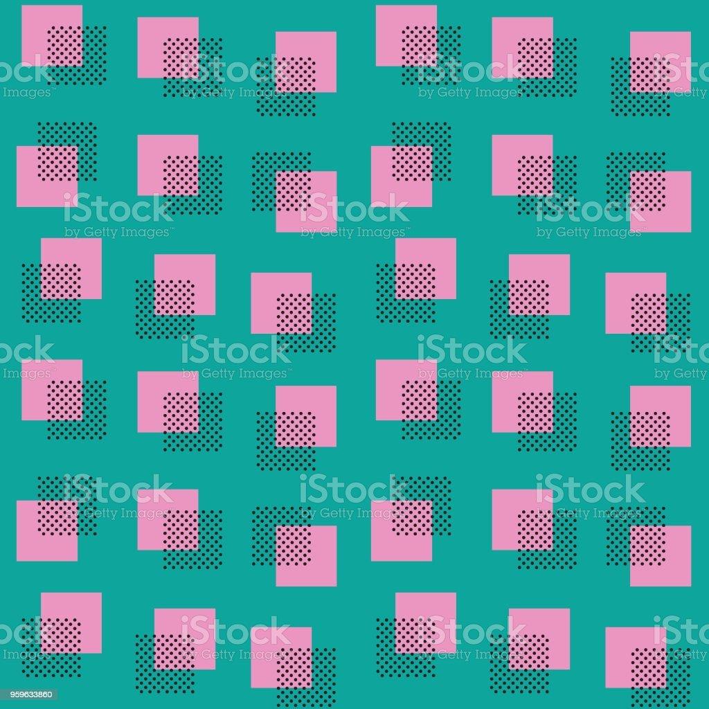 Patrones sin fisuras de plazas y puntos de estilo, ilustración vectorial - arte vectorial de 1980-1989 libre de derechos