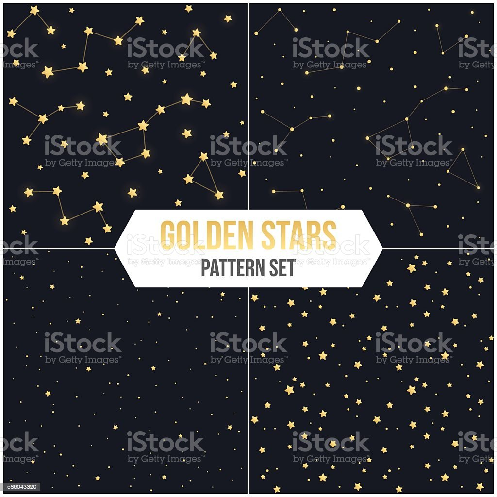Seamless star pattern set vector art illustration