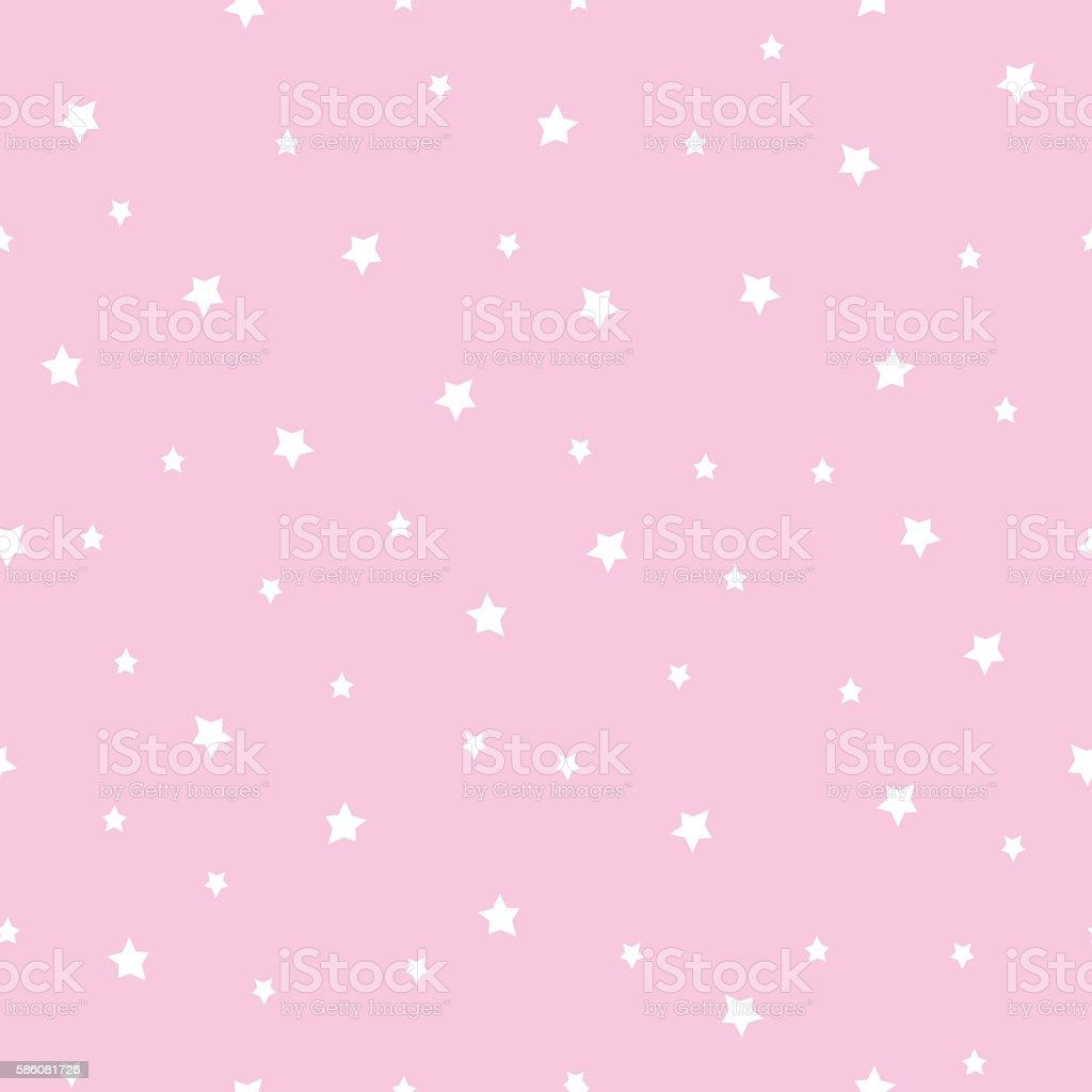 seamless stars pattern on baby pink background stock