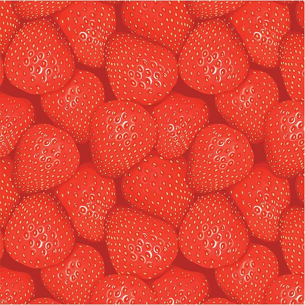 Seamless strawberries pattern vector art illustration