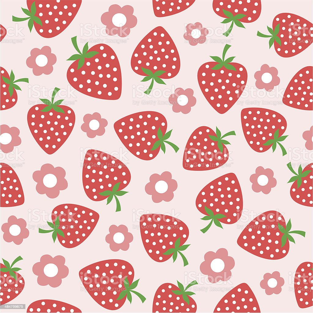 seamless strawberries pattern vector art illustration