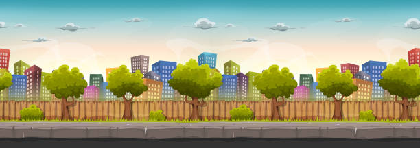 illustrazioni stock, clip art, cartoni animati e icone di tendenza di seamless street city landscape for game ui - marciapiede