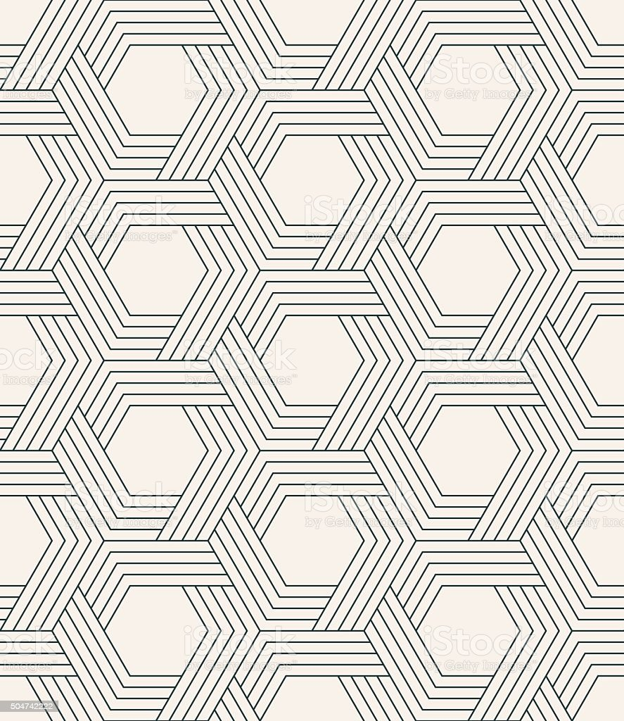seamless striped geometric weaving pattern of hexagons. vector art illustration