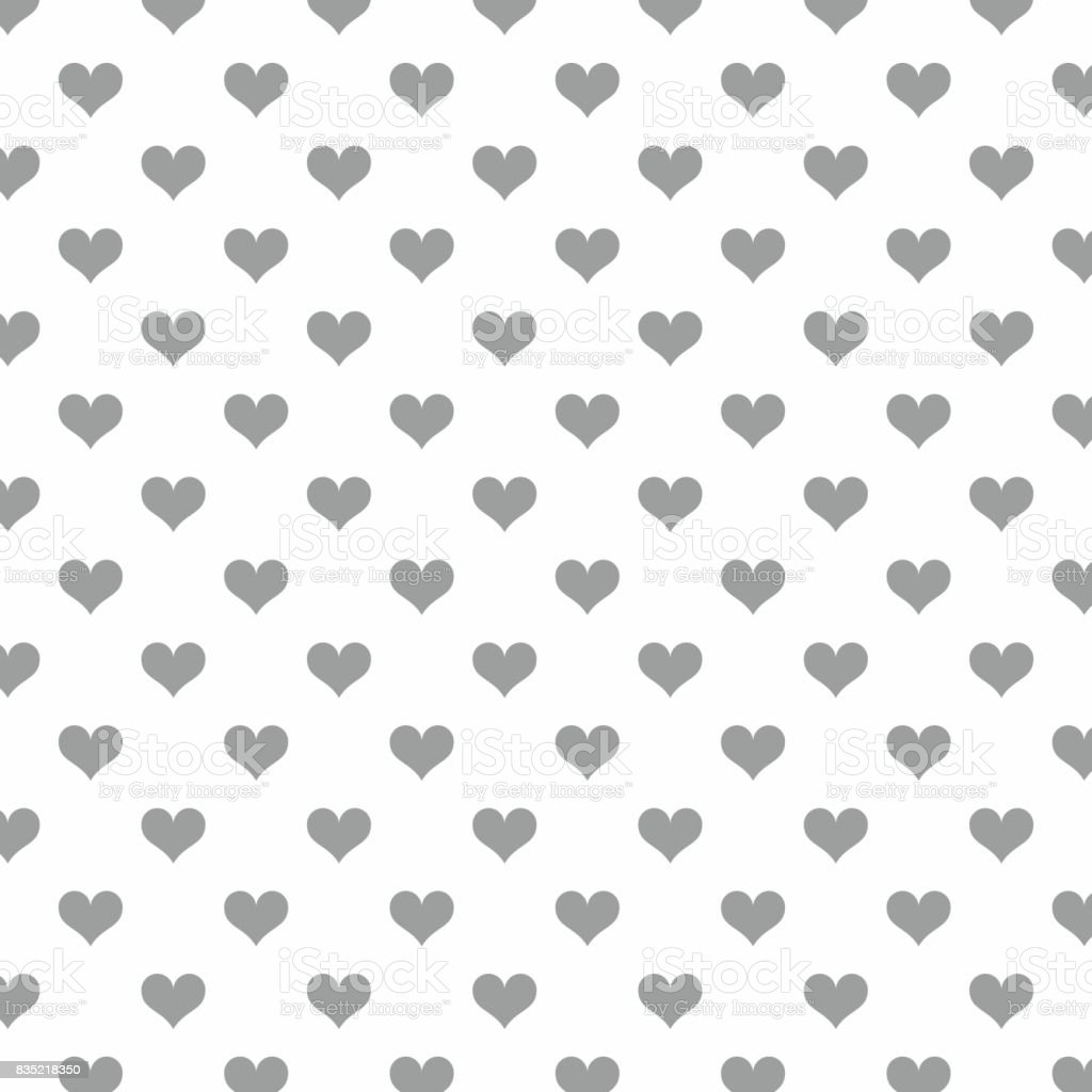 seamless striped grey hearts on white background stock vector art