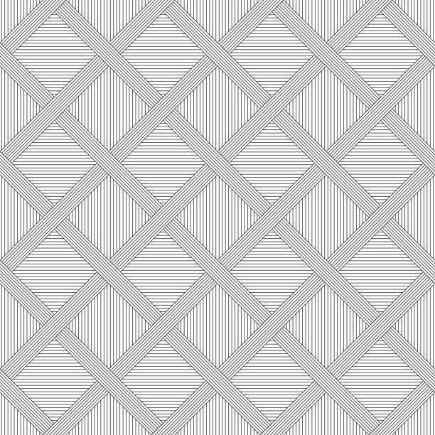 nahtlose monochrome streifenstoff swatch muster. - rankgitter stock-grafiken, -clipart, -cartoons und -symbole