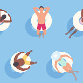 This illustration of people relaxing on inflatables repeats seamlessly, making it an ideal background for your summer design project. The illustrator 10 vector file can be coloured and customized to suit your needs and scaled infinitely without any loss of quality.
