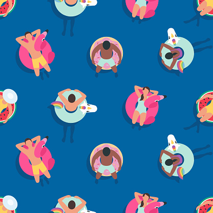 Seamless Summer Background with People relaxing on Inflatable Rings