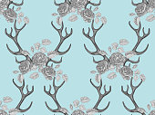 Seamless summer boho tribal fashion pattern with decorative floral deer antlers vector background perfect for wallpaper, pattern fill, web page, surface texture, textile. Horns and floral roses crown