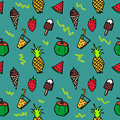 Seamless summer doodle hand drawn pattern with colorful fruits holiday beach stuff.